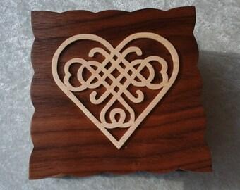 Wooden Celtic Heart Knot Trinket Box.