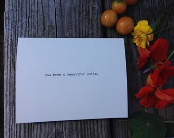 Beautiful smile. - Typewriter Greeting Card