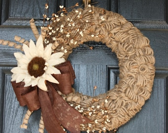 Brown and Cream Burlap and Twine Wreath - Fall Burlap Wreath - Sunflower Wreath - Berry Wreath