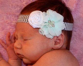 Aqua and White Rosette Flower Headband