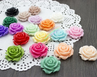 20 Colors U PICK - 28mm Lovely Resin Rose Flower Beads Flatback Rose Flower Cabochons Resin Charms DIY Jewelry Findings Craft Accessory