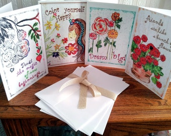 Simply thoughtful Greetings~watercolor illustrated   /Set includes 4—5x7 Cards