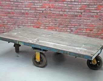 Large Industrial Recycled Wood Coffee Table with Heavy Duty Wheels