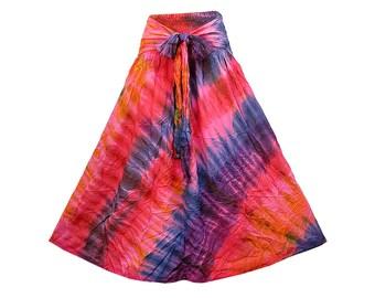 Boho Hippie Gypsy Smock Waist Tie Dye Rayon Skirt  (NQ971)