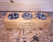 Three bowl pet feeder, small dog feeder, cat feeder, dog dish, cat dish, dog bowl, cat bowl, dog feeding stand, cat feeding stand,wine crate