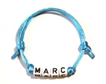 Name bracelet nylon light blue