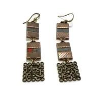 Cork earrings, Portuguese cork, bronze metal, Portuguese jewelry, statement earrings, vegan jewelry, sustainable jewelry