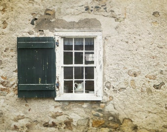 Cottage Window Photography, Green and Cream Decor Fine Art Photography, Living Room Art, Shabby Chic Window Decor