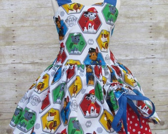 Girls red and blue Paw Patrol birthday party pageant dress