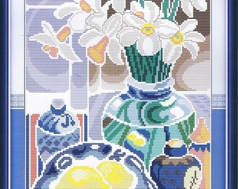 Cross Stitch Flowers in the blue and white porcelain