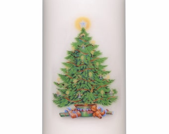 Christmas Tree Unscented Slow Burning Church Pillar Candle