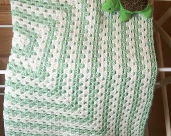 Light Green and White Crocheted Baby Blanket