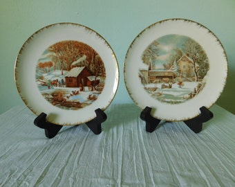 Vintage Currier and Ives Collector's Plates Set of 2
