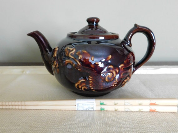 Items Similar To Vintage Brown Teapot With Dragon Made In