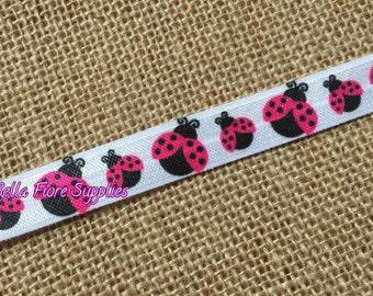 Lady Bug Fold Over Elastic- Lady Bug FOE-  Hot Pink Lady Bug- Fold Over Elastic- Wholesale Elastic- DIY Headband- FOE  By The Yard