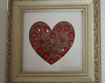 Beaded heart picture, framed