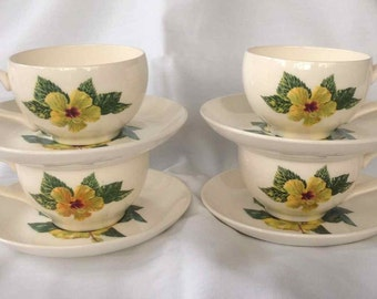 """Vintage Set of Four Santa Anita Ware """"Yellow Hibiscus"""" Cups and Saucers - Flowers of Hawaii -  Made in USA - 1949"""