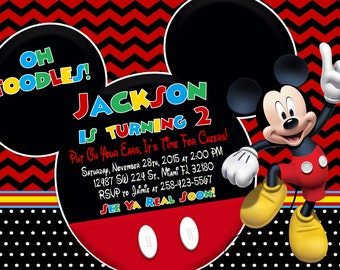 Mickey Mouse Invitation Birthday Mickey Mouse Party
