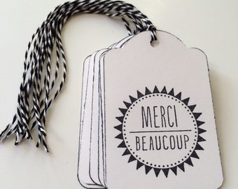 Merci Beaucoup gift tags, black and white thank you tags, favor tags