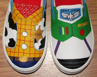Toy Story woody buzz lightyear Disney kids boys girls Custom hand painted  canvas shoes  sneakers slip on