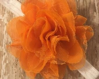 Orange Lace and Chiffon Shabby Flower Headband