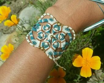 Beads Bracelet woven micro macrame white and green, brass