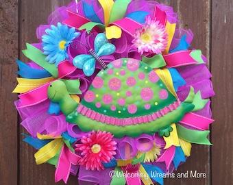 Turtle Wreath, Spring Wreath, Summer Wreath, Turtle Deco Mesh Wreath, Summer Mesh Wreath