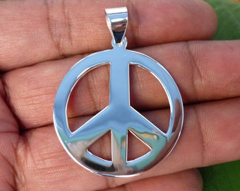Peace - Peace Pendant - Peace Sign Pendant - Peace Sign Symbol -  Silver Charm, 925 Sterling silver Necklace Pendants 31 mm Large