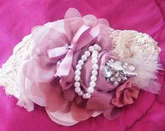 Pink, shabby/chic, embellished hair fascinator