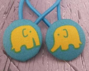 Yellow elephant hair ties, cute elephant hair ties, hair elastics, hair bobbles