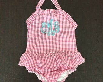 Monogrammed Swimsuit/ Kid's Swimsuit/ Kid's Bathing Suit/ Personalized Bathing Suit/ Sewthern/ Sewthern Creations