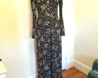 Boho vintage navy folk floral ruffle maxi dress