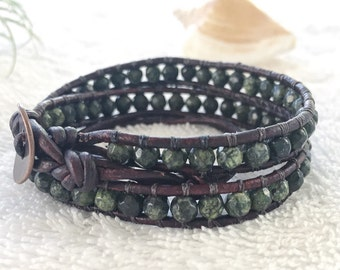 Faceted Dark Green Moss Agate Wrap Bracelet - Double Wrap Gemstone Bracelet - Antique Brown Leather - Moss Agate Jewelry Leather Wrap