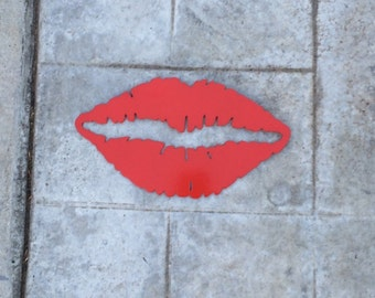 Red Hot Lips Metal Sign