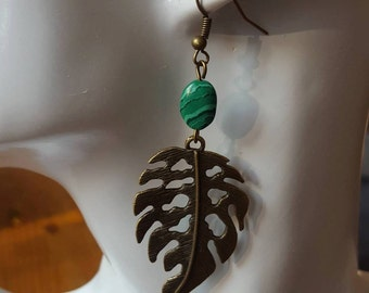 Earrings natural stone Malachite bronze sheet