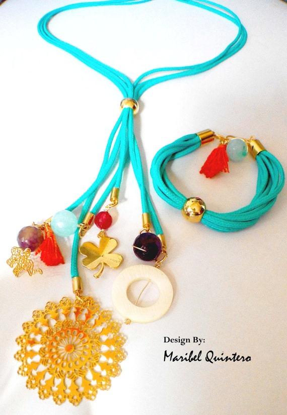 Art culos similares a multi colgantes collar y pulsera en - Como hacer color turquesa ...