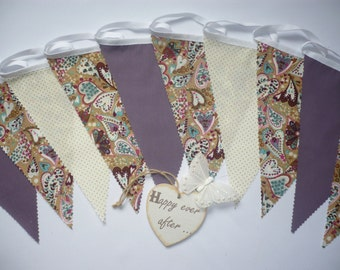"""10 Foot Pretty """"Hannahs Hearts"""" Beige and Aubergine Fabric Bunting"""