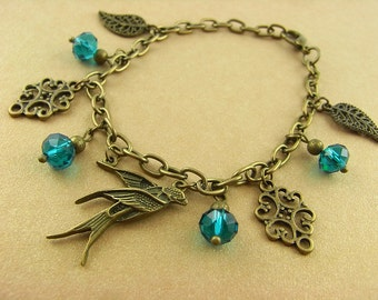 Charm bracelet - bird flight