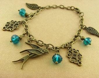 Charm bracelet - bird flight