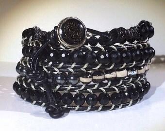 Black Leather 4-Wrap Power Stone Beaded