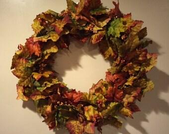 Maroon Fall Leaves Grapevine Wreath