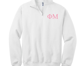 Phi Mu Quarter Zip Pullover,Phi Mu Cadet Jacket,Phi Mu  Sorority Letters, Phi Mu sweatshirt, FM Fleece Pullover