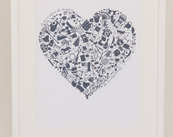 Home is where the Heart is NAVY PRINT