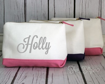 Personalized PINK Color Dipped Canvas Cosmetic bag