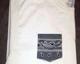 Men's Custom Gray Bandana Pocket White T