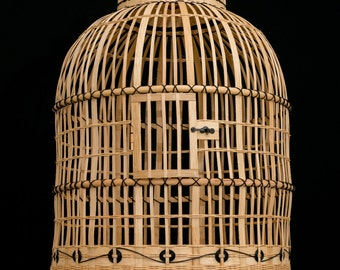 Hand Made Canary / Finch cage hand woven rattan reed,Bird cage,Canary Cage,Finch Cage,Basket Cage.