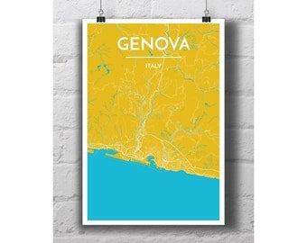Genova, Italy - City Map Print