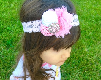 Pink headband and flower headband, white headband, girls headband,