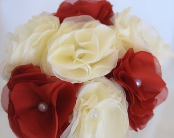 Bridal ivory red original flowers bouquet