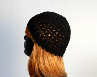 Organic cotton summer hat, knitted, crochet, women, girls, teens, black